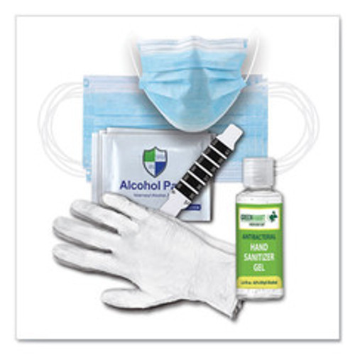 Work Week Protection Kit, includes gloves, face masks, wipes, and thermometer