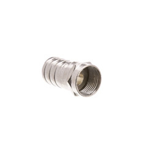 RG6 F-pin Coaxial Crimp On Connector with Long (1/2 inch) Barrel