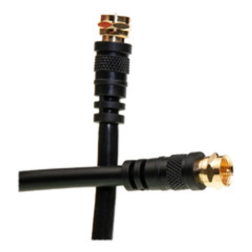 F-pin RG6 Coaxial Cable, Black, F-pin Male,  100 foot