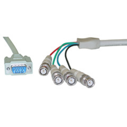 SVGA (HD15 Male) to BNC (4 Male) Monitor Breakout Cable with Ferrite Bead, Double Shielded, 6 foot