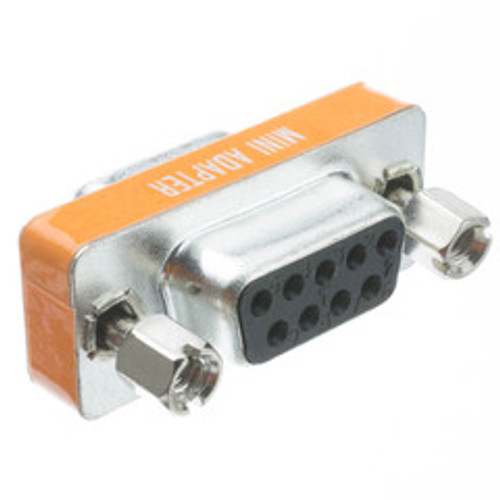Mini Null Modem Adapter, DB9 Female to DB9 Female