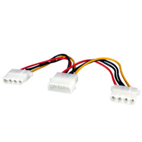 4 Pin Molex Power Y Cable, 5.25 inch Male to Dual 5.25 inch Female, 6 inch