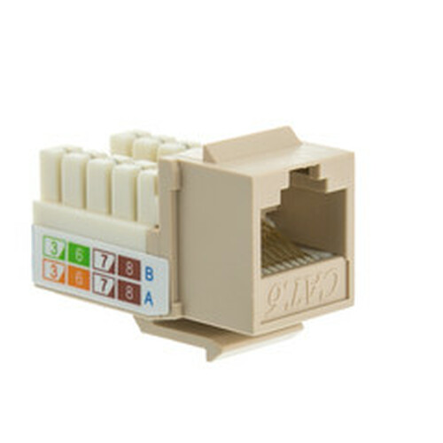 Cat6 Keystone Jack, Beige/Ivory, RJ45 Female to 110 Punch Down