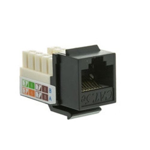 Cat5e Keystone Jack, Black, RJ45 Female to 110 Punch Down