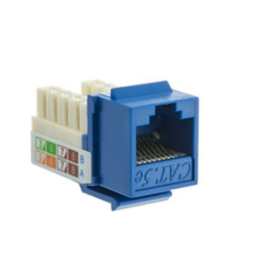 Cat5e Keystone Jack, Blue, RJ45 Female to 110 Punch Down