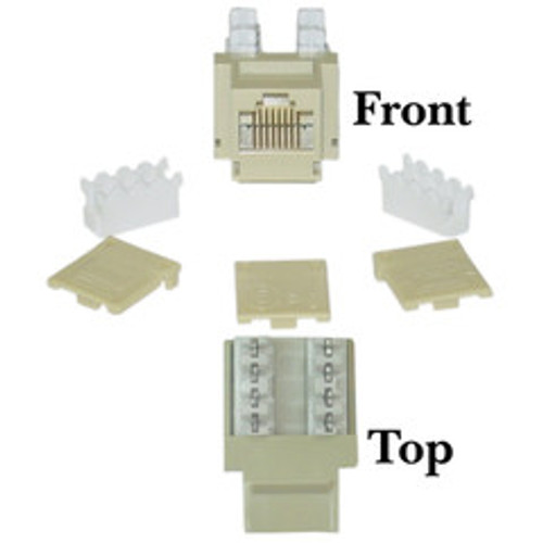 Cat5e Keystone Jack, Beige/Ivory, RJ45 Female to 110 Punch Down