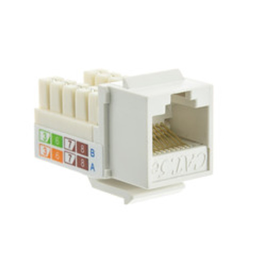 Cat5e Keystone Jack, White, RJ45 Female to 110 Punch Down