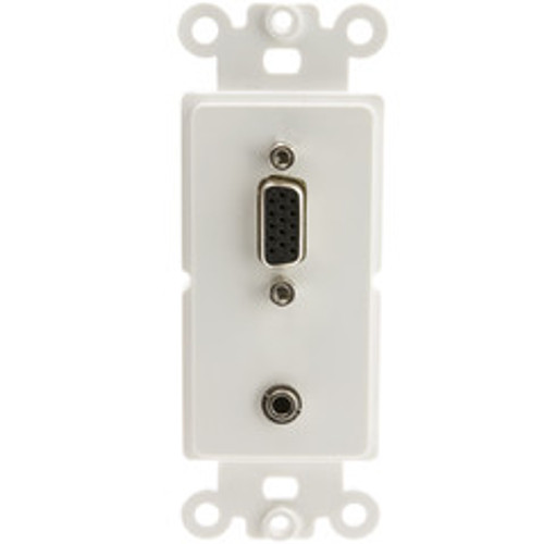 Decora Wall Plate Insert, White, VGA (HD15) Coupler and 3 inch 3.5mm Stereo Coupler, HD15 Female and 3.5mm Stereo Female