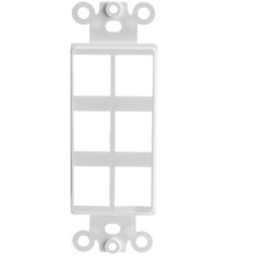 Decora Wall Plate Insert, White, 6 Hole for Keystone Jack