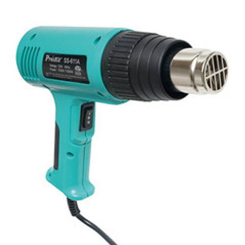 Heat Gun w/ Accessories in blow molded case.  Includes hook nozzle, slit nozzle, deflector nozzle, air concentration nozzle, amd scraping tool