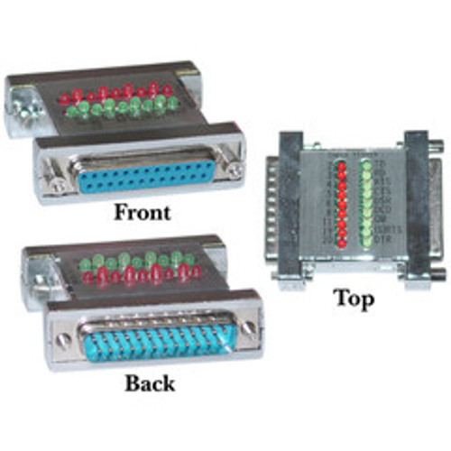 Serial Check Tester With Green and Red LEDs, DB25 Male to DB25 Female