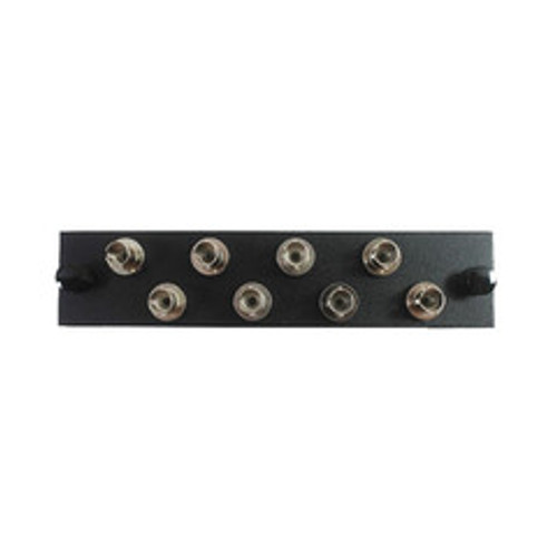 LGX Compatible Adapter Plate featuring a Bank of 8 Singlemode ST Connectors, Black Powder Coat