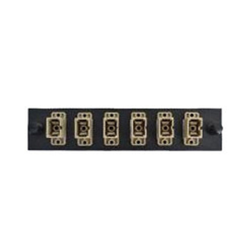 LGX Compatible Adapter Plate featuring a Bank of 6 Multimode SC Connectors in Beige for OM1 and OM2 applications, Black Powder Coat