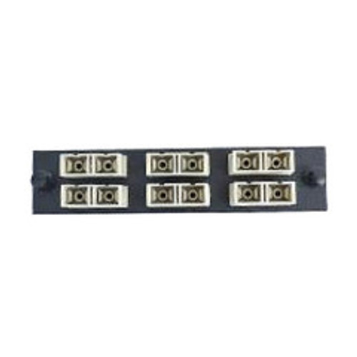 LGX Compatible Adapter Plate featuring a Bank of 6 Multimode Duplex SC Connectors in Beige for OM1 and OM2 applications, Black Powder Coat