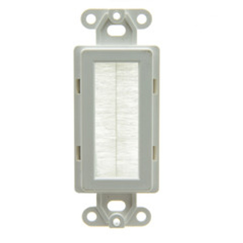 Decora Wall Plate Insert, White, Brush Cable Pass Through