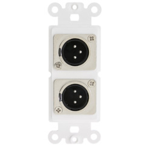Decora Wall Plate Insert, White, Dual XLR Male to Solder Type