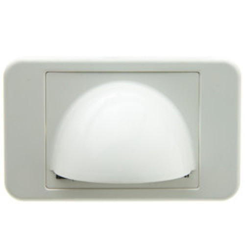 Brush Style Cable Pass-Through Wall Plate Insert with half-moon cover, single gang, white