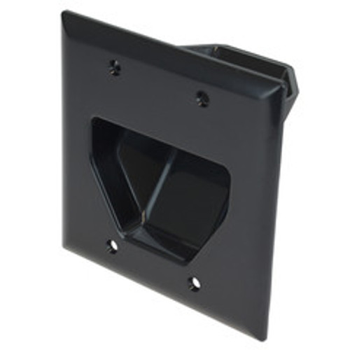 2-Gang Recessed Low Voltage Cable Plate, Black