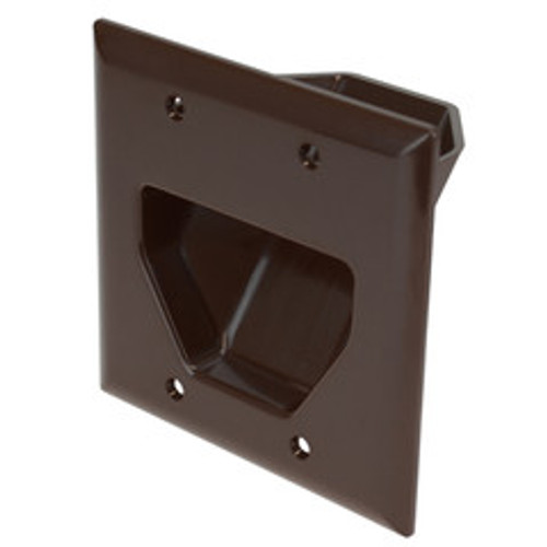 2-Gang Recessed Low Voltage Cable Plate, Brown