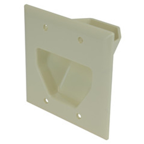 2-Gang Recessed Low Voltage Cable Plate, Lite Almond