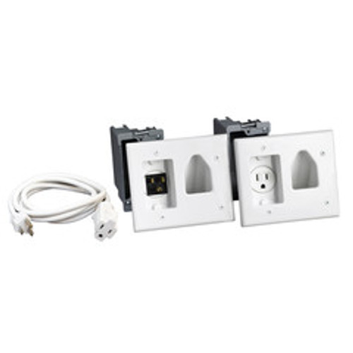 Recessed Pro-Power Kit with Straight Blade Inlet, White