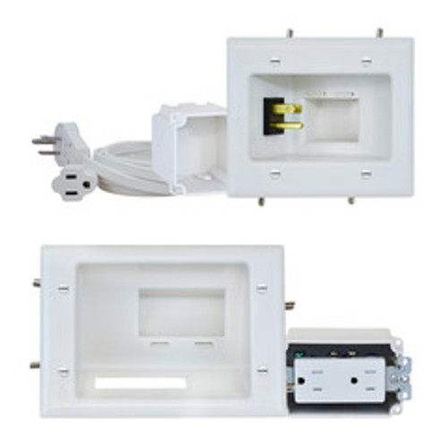 Recessed Pro-Power Kit with Duplex Receptacle and Straight Blade Inlet, White