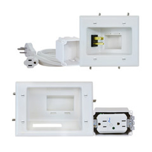 Recessed Pro-Power Kit with Duplex Surge Suppressor and Straight Blade Inlet, White