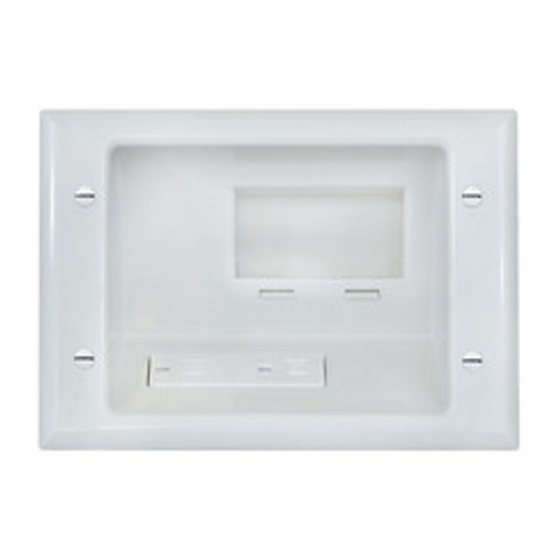 Recessed Low Voltage Mid-Size Plate w/ Duplex Receptacle, White