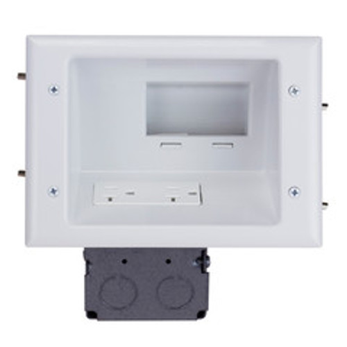 Recessed Low Voltage Mid-Size Plate with 20 Amp Duplex Receptacle, White