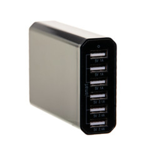 6 Port USB Travel Charge Station.  Total 10A. Ports: 3@1A. 1@2.1A. 2@2.4A. Gloss Black. 4 foot power cord.