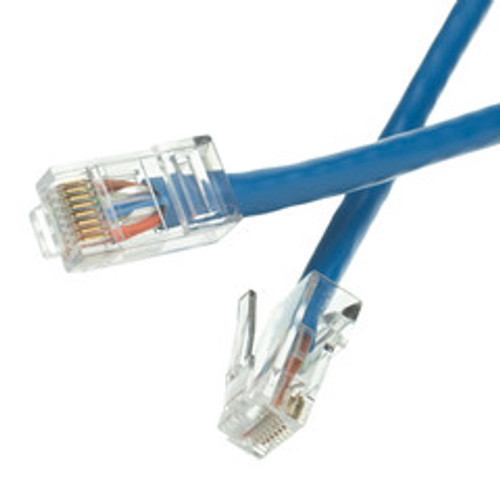 Cat6 Blue Ethernet Patch Cable, Bootless, 1 foot