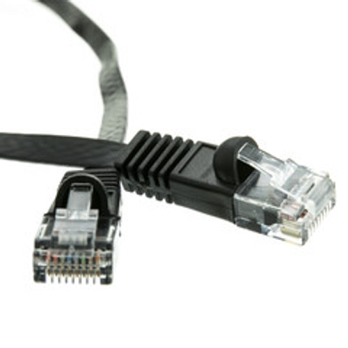 Cat6 Black Flat Ethernet Patch Cable, 32 AWG, 1 foot