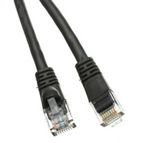 Cat6a Black Ethernet Patch Cable, Snagless/Molded Boot, 500 MHz, 1 foot