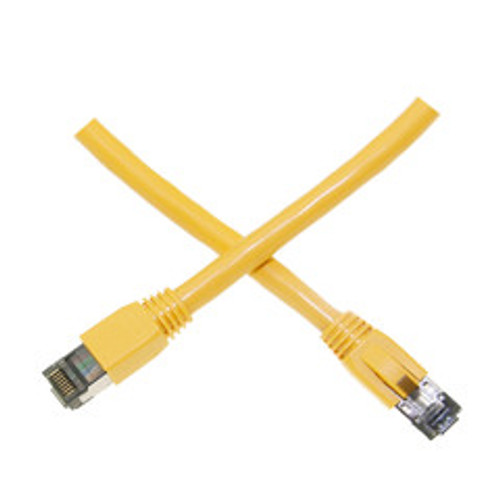 Cat8 Yellow S/FTP Ethernet Patch Cable, Molded Boot, 40Gbps - 2000MHz, 4-Pair 24AWG Stranded Pure Copper, RJ45 Male, 35 foot