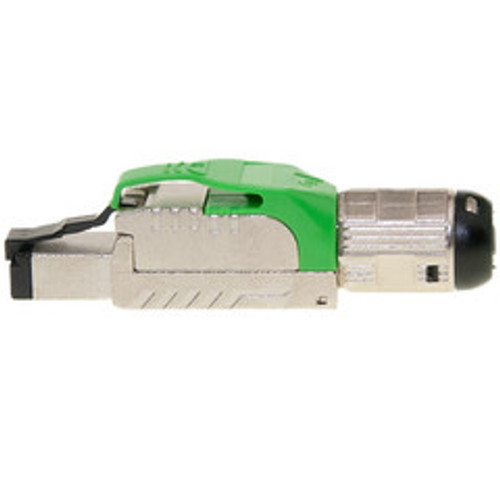 Shielded Cat6a field terminable plug for solid/stranded cable, supports 23-26 AWG conductors, 6.0-7.5mm OD, Green