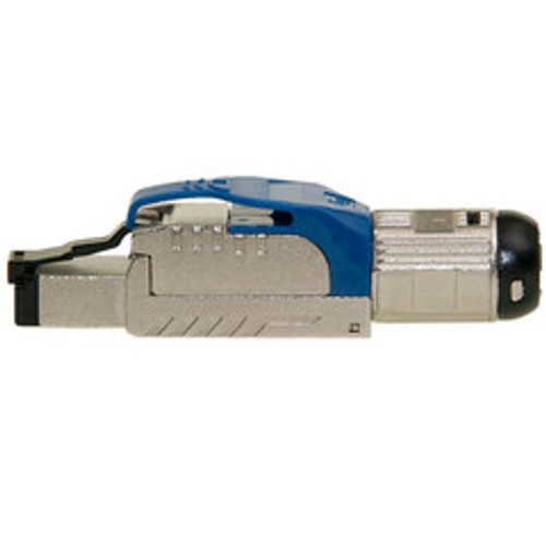 Shielded Cat6a field terminable plug for solid/stranded cable, supports 23-26 AWG conductors, 6.0-7.5mm OD, Blue