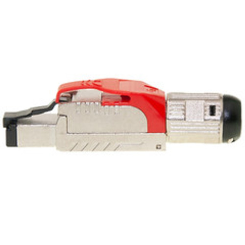 Shielded Cat6a field terminable plug for solid/stranded cable, supports 23-26 AWG conductors, 6.0-7.5mm OD, Red