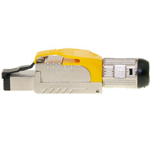 Shielded Cat6a field terminable plug for solid/stranded cable, supports 23-26 AWG conductors, 6.0-7.5mm OD, Yellow