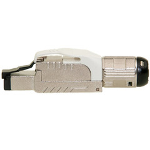 Shielded Cat6a field terminable plug for solid/stranded cable, supports 23-26 AWG conductors, 6.0-7.5mm OD, White