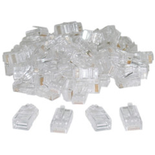 8P8C RJ45 Crimp Connectors for Solid and Stranded Cable, 100 Pieces