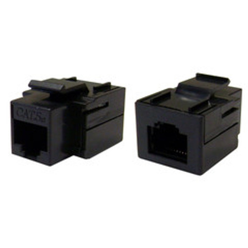 Cat5e Keystone Inline Coupler, Black, RJ45 Female