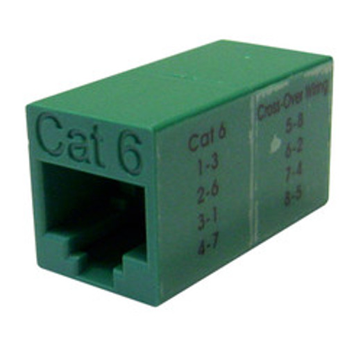 Cat6 Crossover Coupler, Green, RJ45 Female, Unshielded