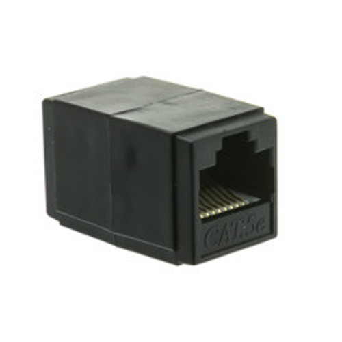 Cat5e Coupler, Black, RJ45 Female, Unshielded
