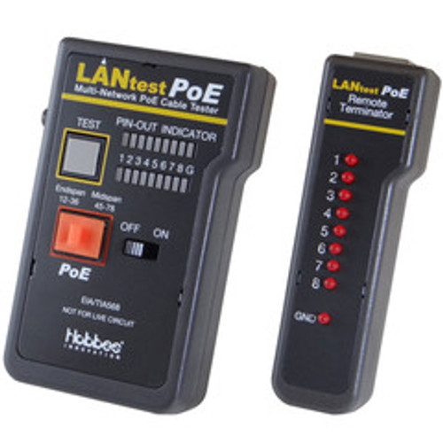 Lan Tester PoE Network Cable tester, Pin Configuration/Wire Map Results