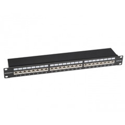 Rackmount 24 Port Shielded Cat6A Patch Panel, Horizontal, 110 Type, 568A and  568B Compatible, 1U