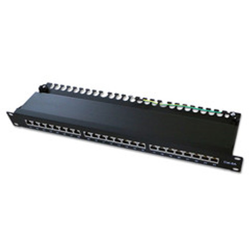 Rackmount 24 Port Shielded Cat6a Patch Panel, Horizontal, 110 Type, 568A & 568B Compatible, 1U