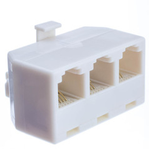 Telephone Jack Line Separator, RJ11/RJ12 Male to 3 RJ11/RJ12 Female, Line 1, Line 2, Line 1 and 2