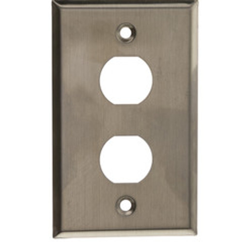 Outdoor Wall Plate w/ Water Seal, Stainless Steel , 2 Port, Single Gang