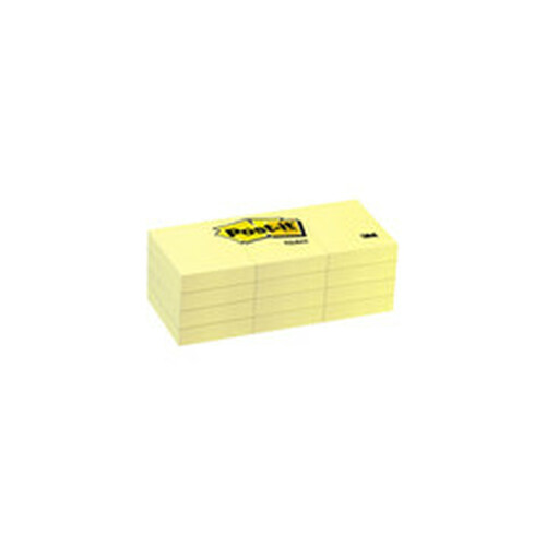 3M Post-it Notes, Canary Yellow, 1 3/8 in x 1 7/8 inch 100-sheet pads, 12 pads/pack