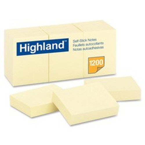 3M Post-it Notes, Highland Yellow, 1 3/8 in x 1 7/8 inch 100-sheet pads, 12 pads/pack